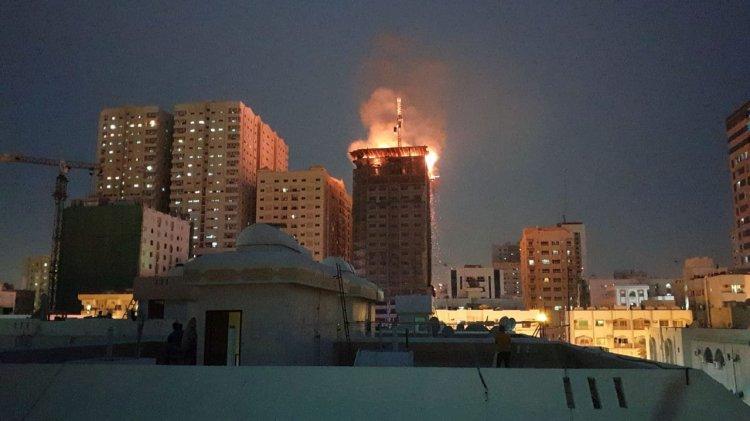Sharjah Building under construction fire fires Civil defence