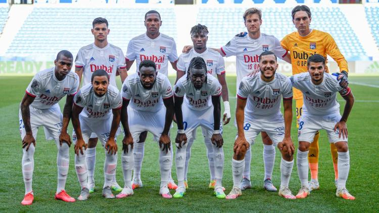 Olympique Lyon dons Emirates airline Dubai is open jersey friendly match football sponsor