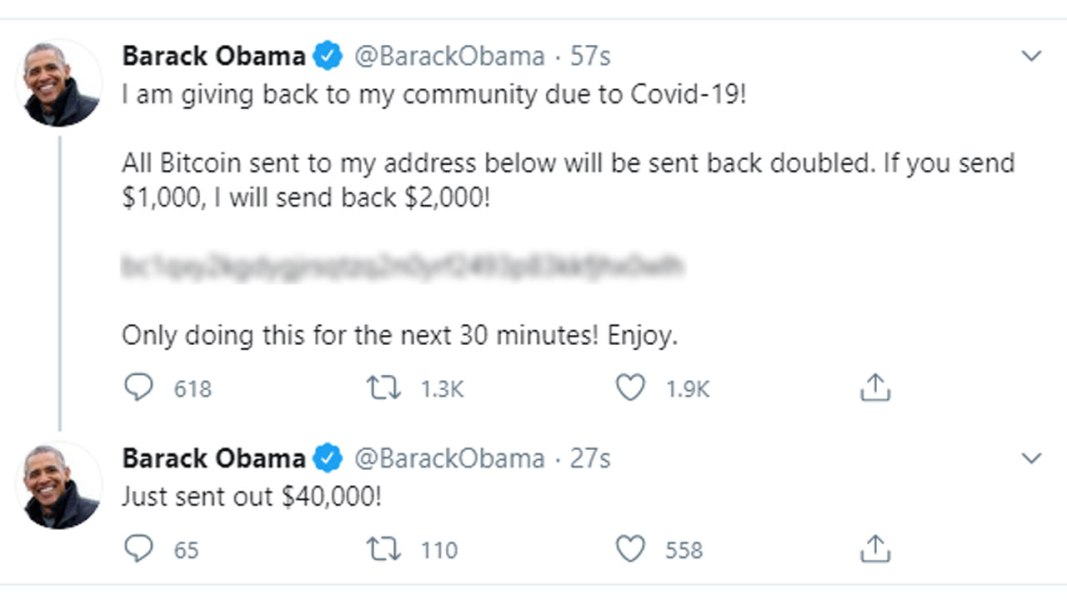 Bitcoin hacker scam Barack Obama Elon Musk Kanye West Joe Biden Twitter Jack Dorsey