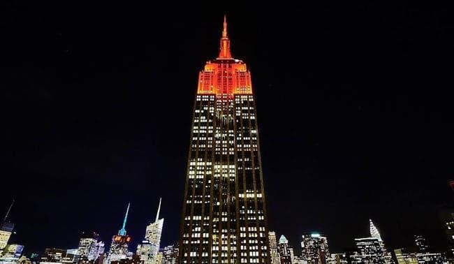 New York USA's Times Square hoisting india flag independence day 15th august empire state building flag