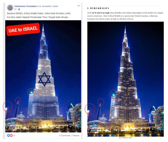 Burj Khalifa Abraham Record UAE Israel relations diplomacy Anwar Gargash US President Donald Trump Flag Light up fake news