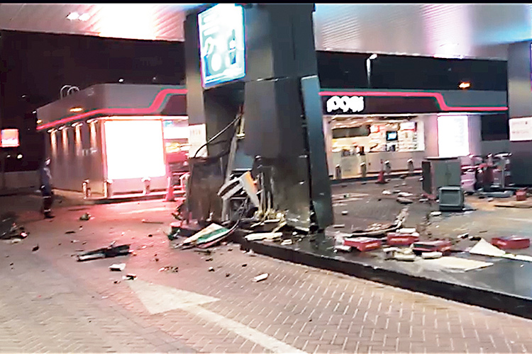 Sharjah Police motorist arrested jailed reckless driving crashing into petrol pump fuel terminal