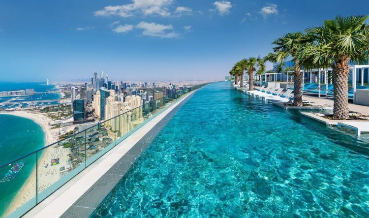 Address Beach Resort world record highest infinity pool marina sands singapore sheikh mohammed dubai jbr hotel
